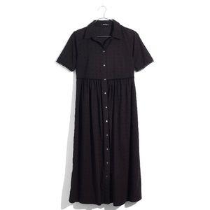MADEWELL black clipdot midi shirt dress